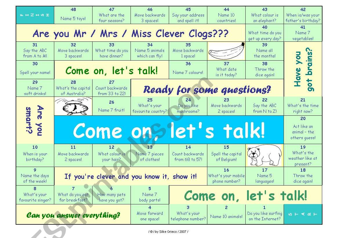 TALKING GAME for beginner and elementary level • can be used for lessons with adults, too • FULLY EDITABLE