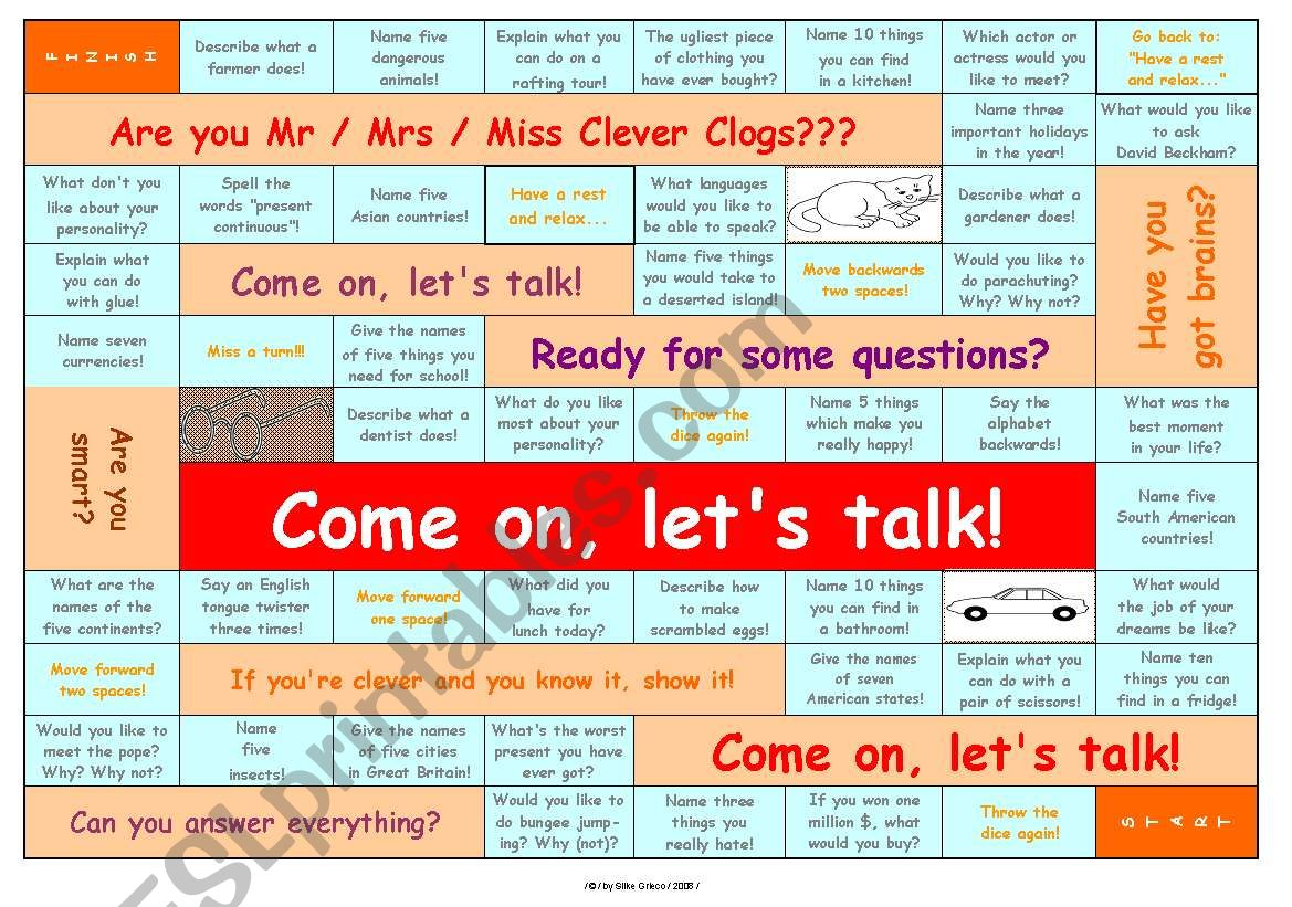TALKING GAME for elementary and pre-intermediate level • can be used for lessons with adults, too • FULLY EDITABLE