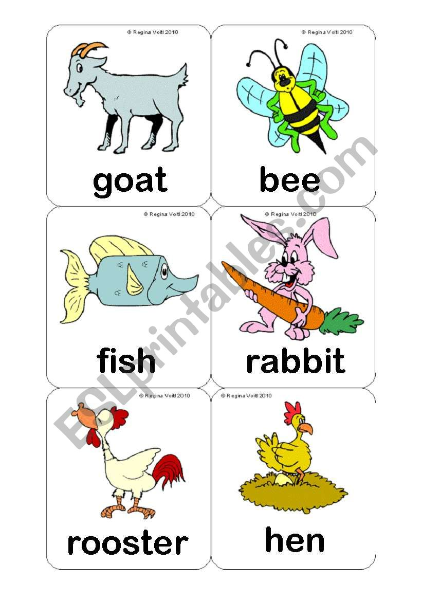 Farm Animals Flashcards (15 Cards) Editable