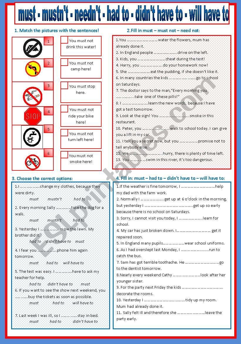 must mustn t worksheet pdf
