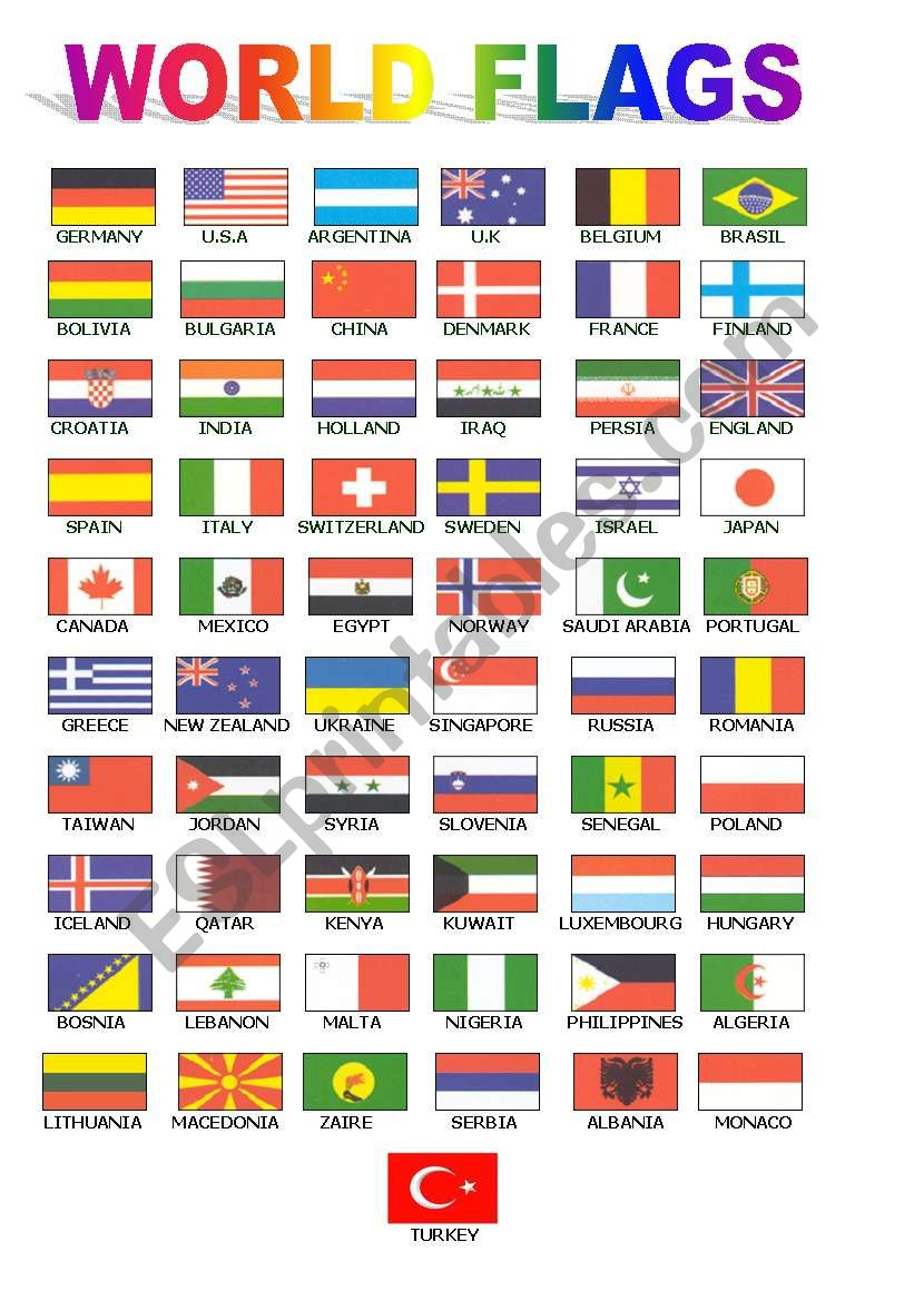 World Flags For Class Board Esl Worksheet By Ugiteacher