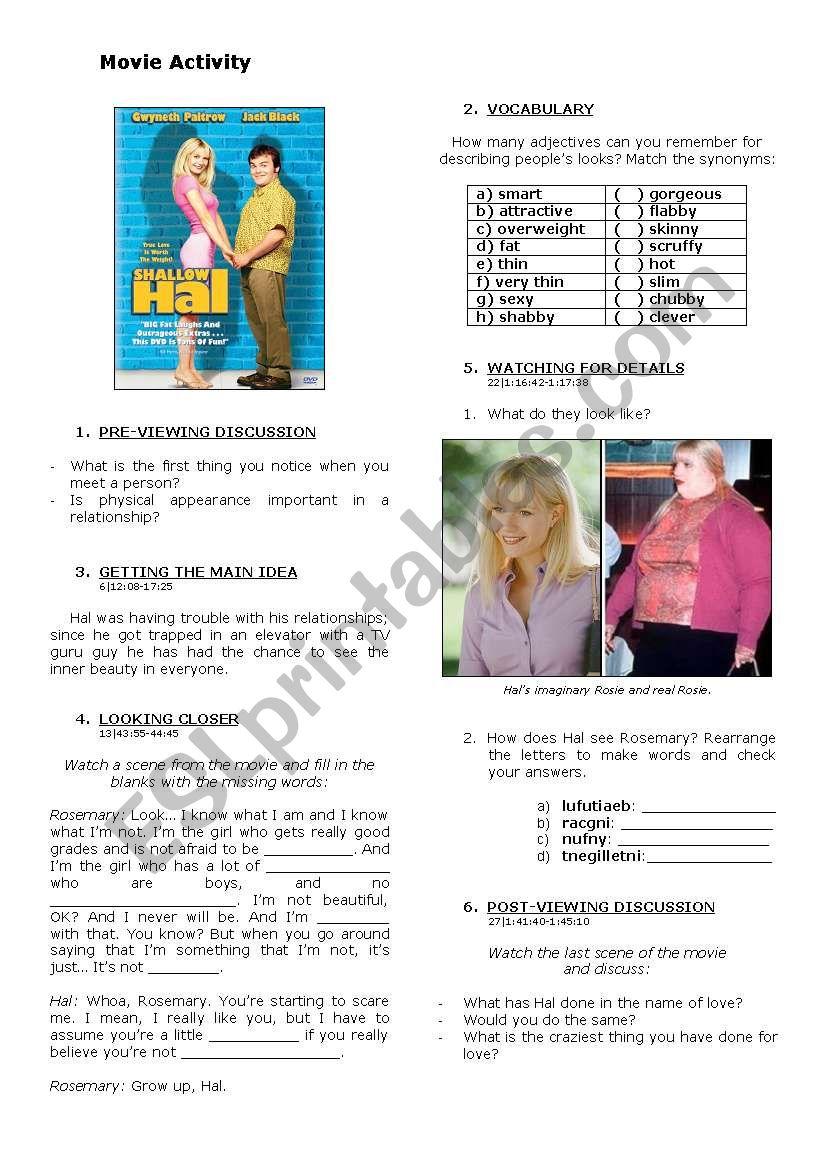 Shallow Hal worksheet