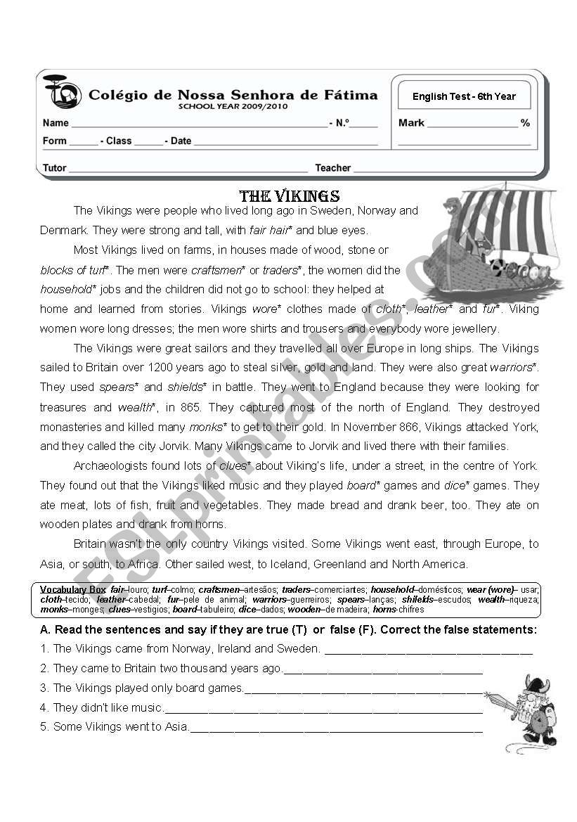 6th year test - the vikings - ESL worksheet by atsitab