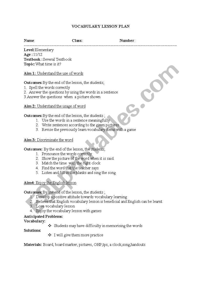 Lesson plan for teaching time - ESL worksheet by gülsm