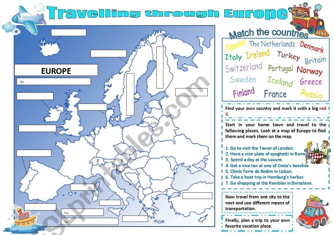 Travelling through Europe worksheet