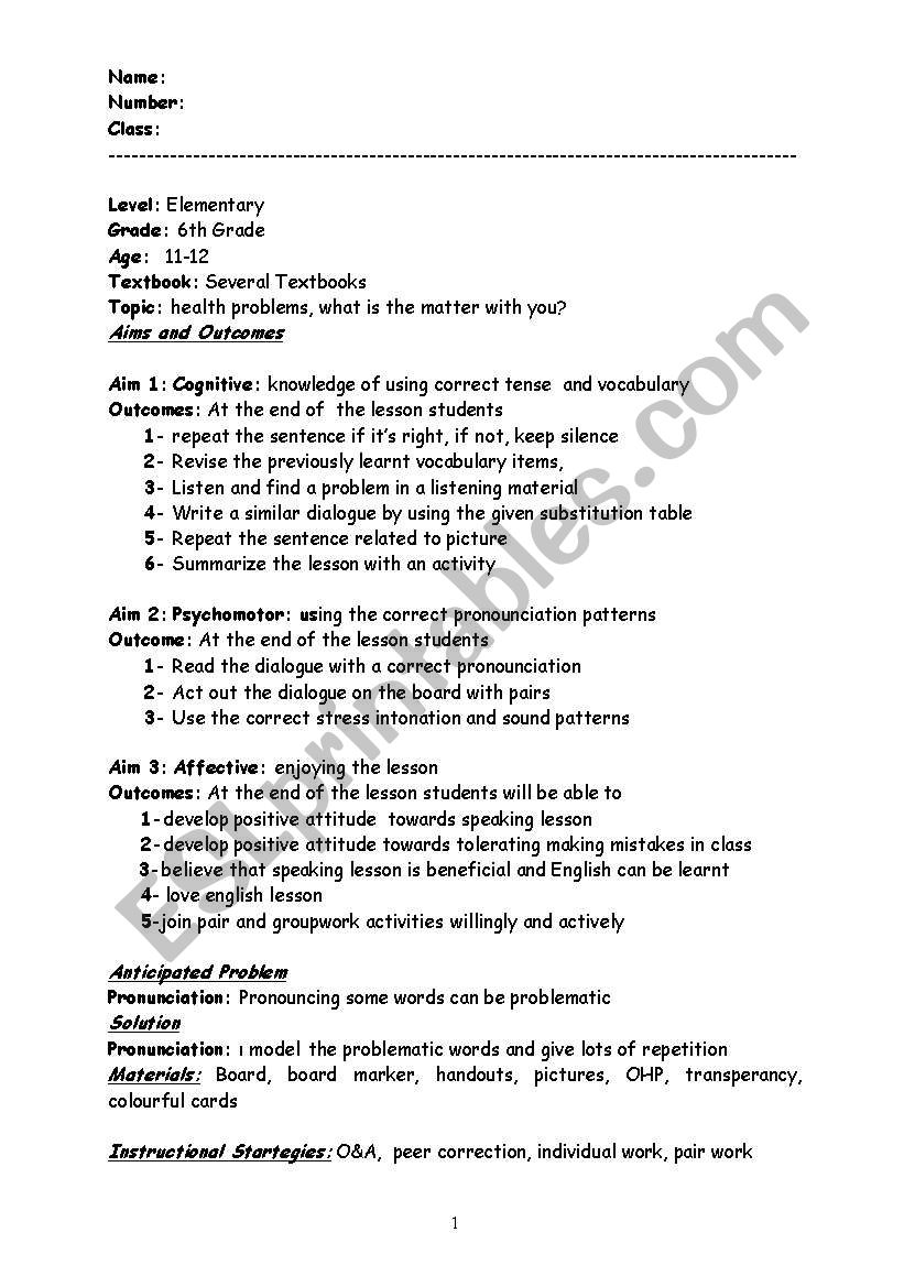 speaking lesson plan for health problems - ESL worksheet by gülsm