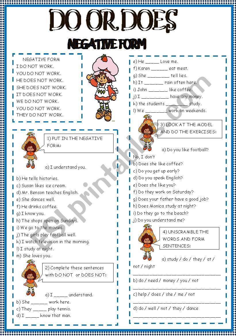DO OR DOES worksheet