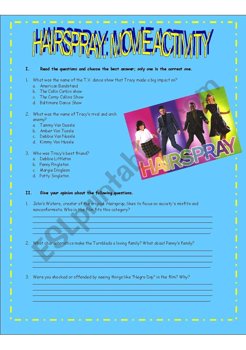 HAIRSPRAY: MOVIE ACTIVITY worksheet
