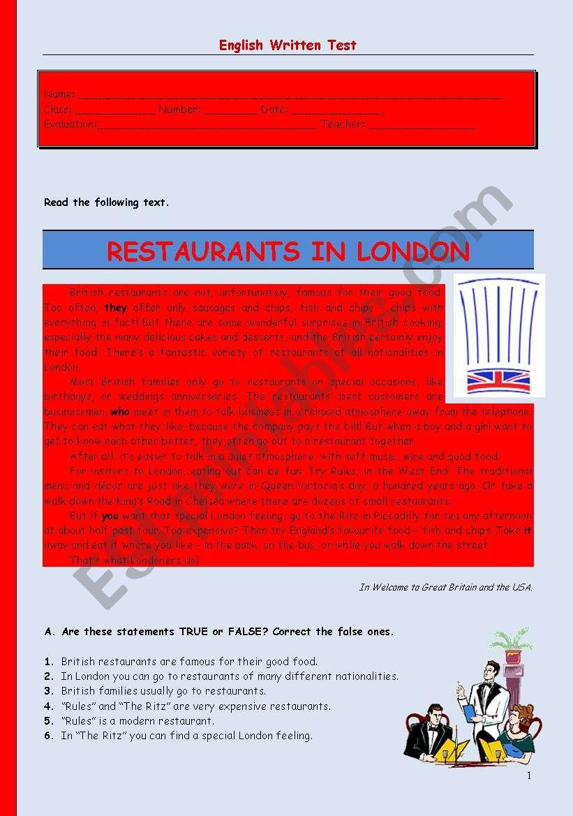 English worksheets: Test - restaurants in London