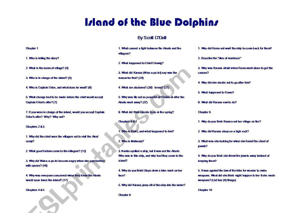 English worksheets: Island of the Blue Dolphins