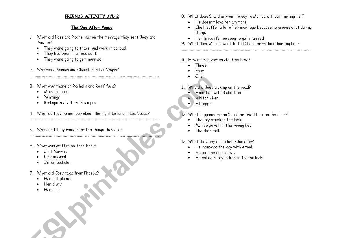 The one after Vegas - Friends Episode - ESL worksheet by milainlove