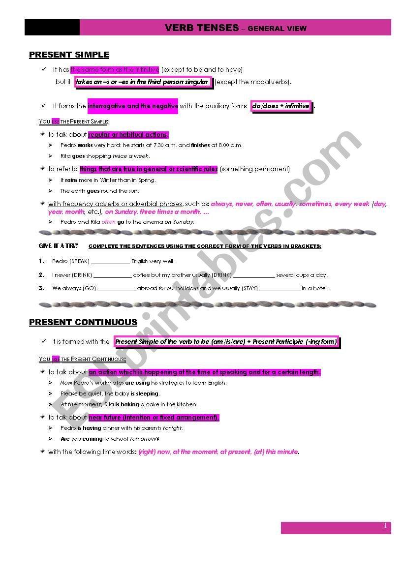 VERB TENSES - General View worksheet