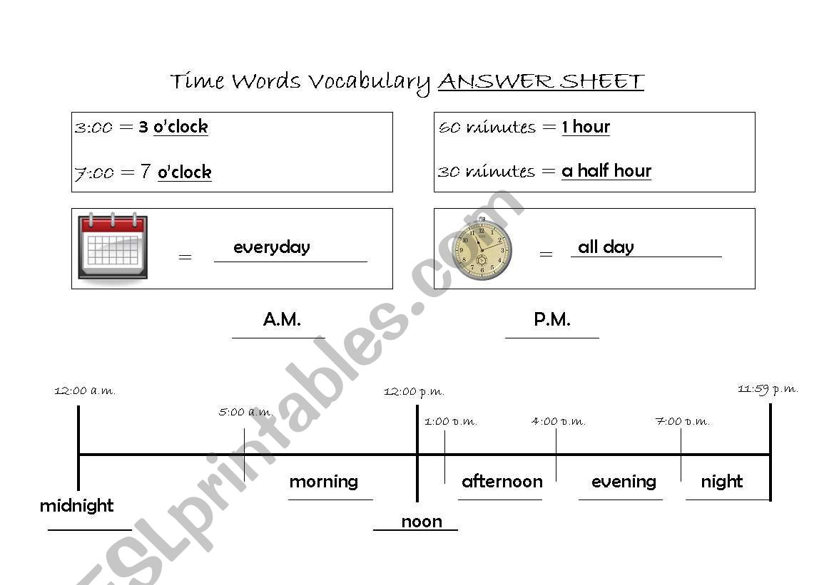 English Worksheets Time Words