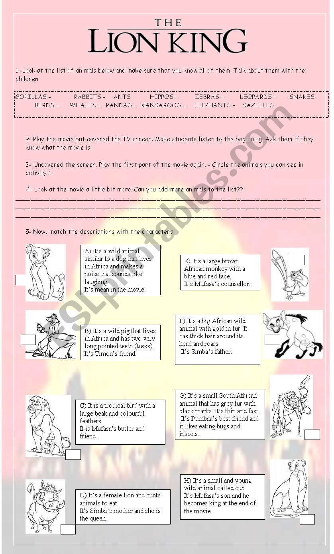 The Lion King Esl Worksheet By Carireguilleau