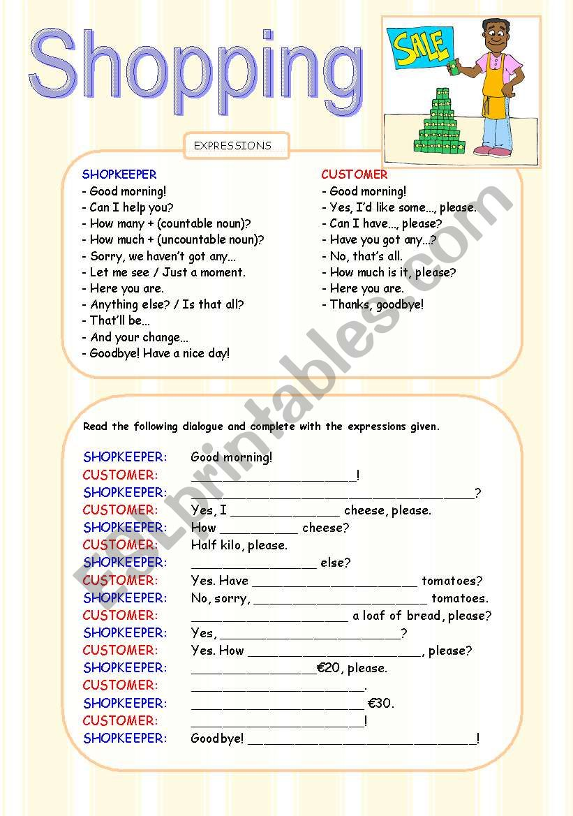 SHOPPING DIALOGUE WORKSHEET worksheet