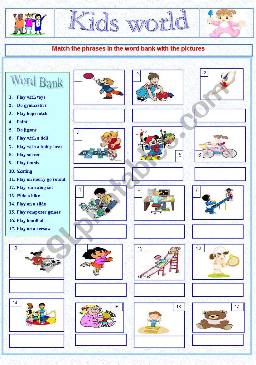 Kids world worksheet+ keys worksheet
