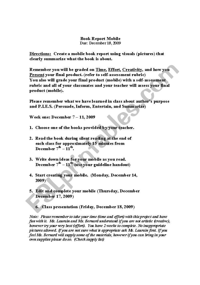 english worksheets book report mobile