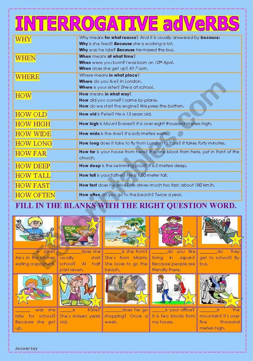 INTERROGATIVE ADVERBS - ESL worksheet by KELEN PRISCILA