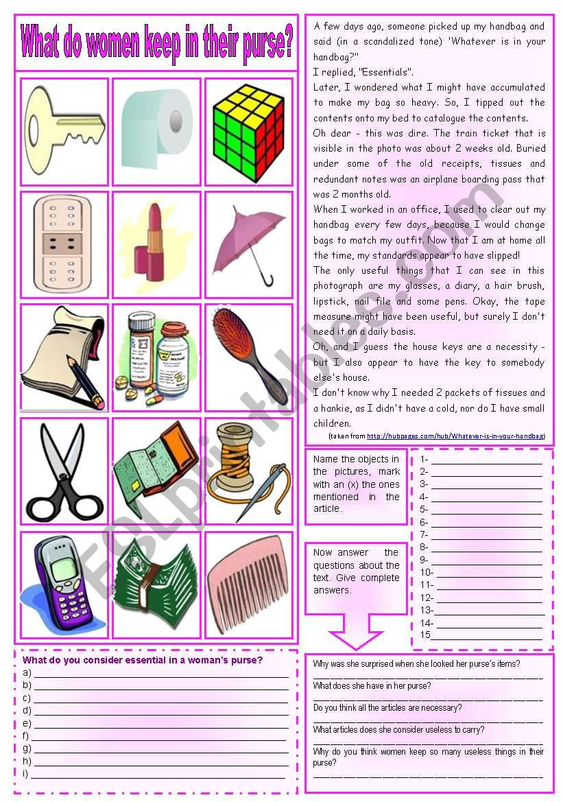 What do women keep in their purse? (Reading comprehension + vocabulary + homework) ***fully editable ((2 pages))