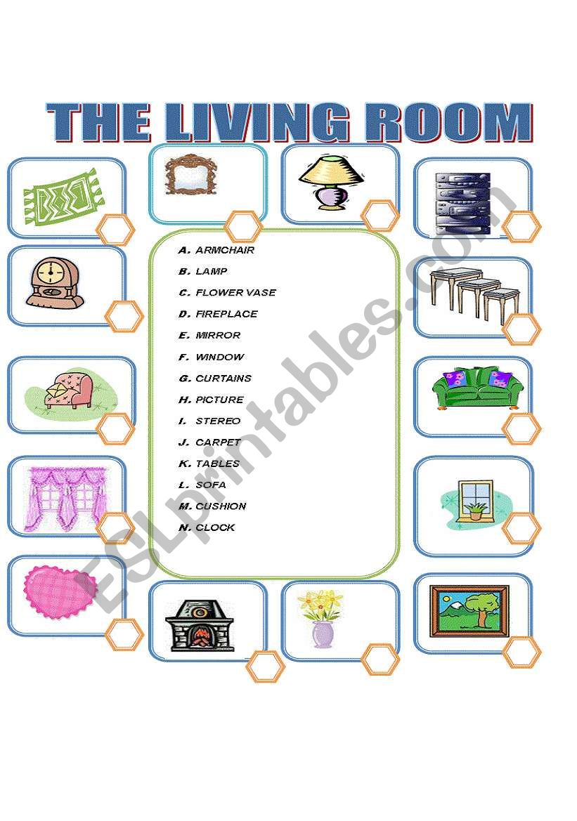Objects and furniture in the Living Room - ESL worksheet by ilona