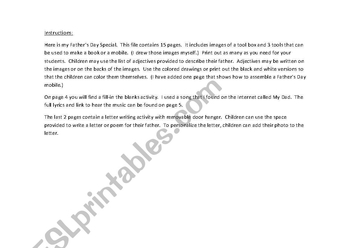 Father´s Day Special (15 Page Document with Fill-In the