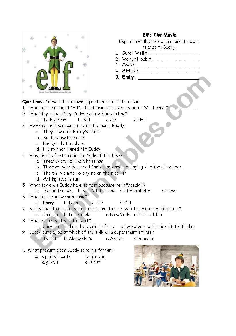 ELF: The Movie Questions - ESL worksheet by rscottsf