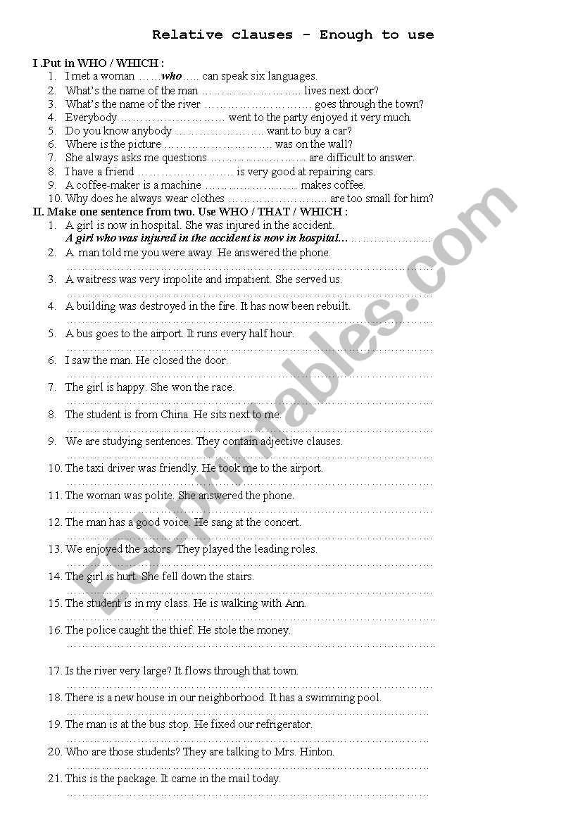 relative clause - ESL worksheet by ngocquang086