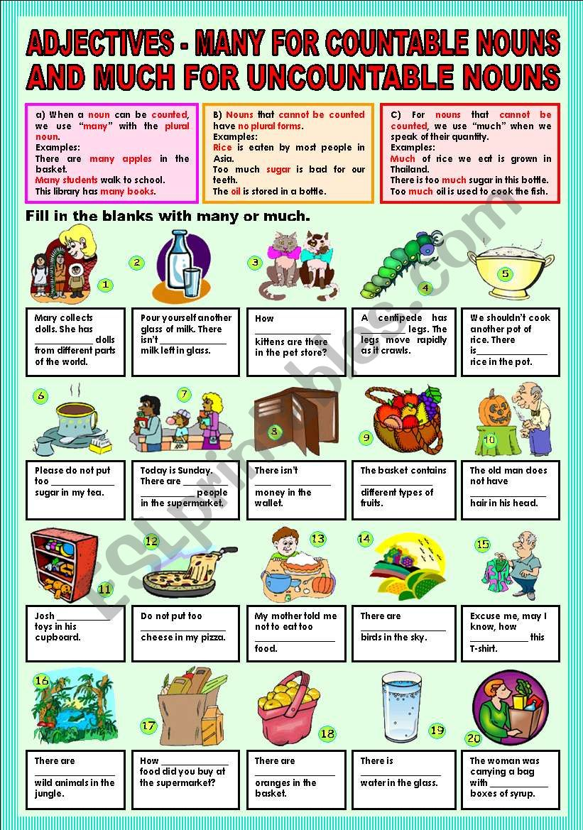 Adjectives - many for countable nouns and much for uncountable nouns