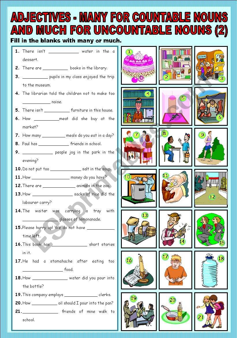 Adjectives - many for countable nouns and much for uncountable nouns + part 2