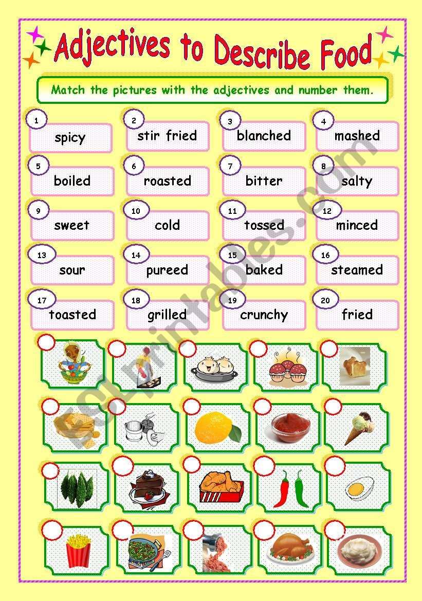 Adjectives to Describe Food (3/3) - Matching