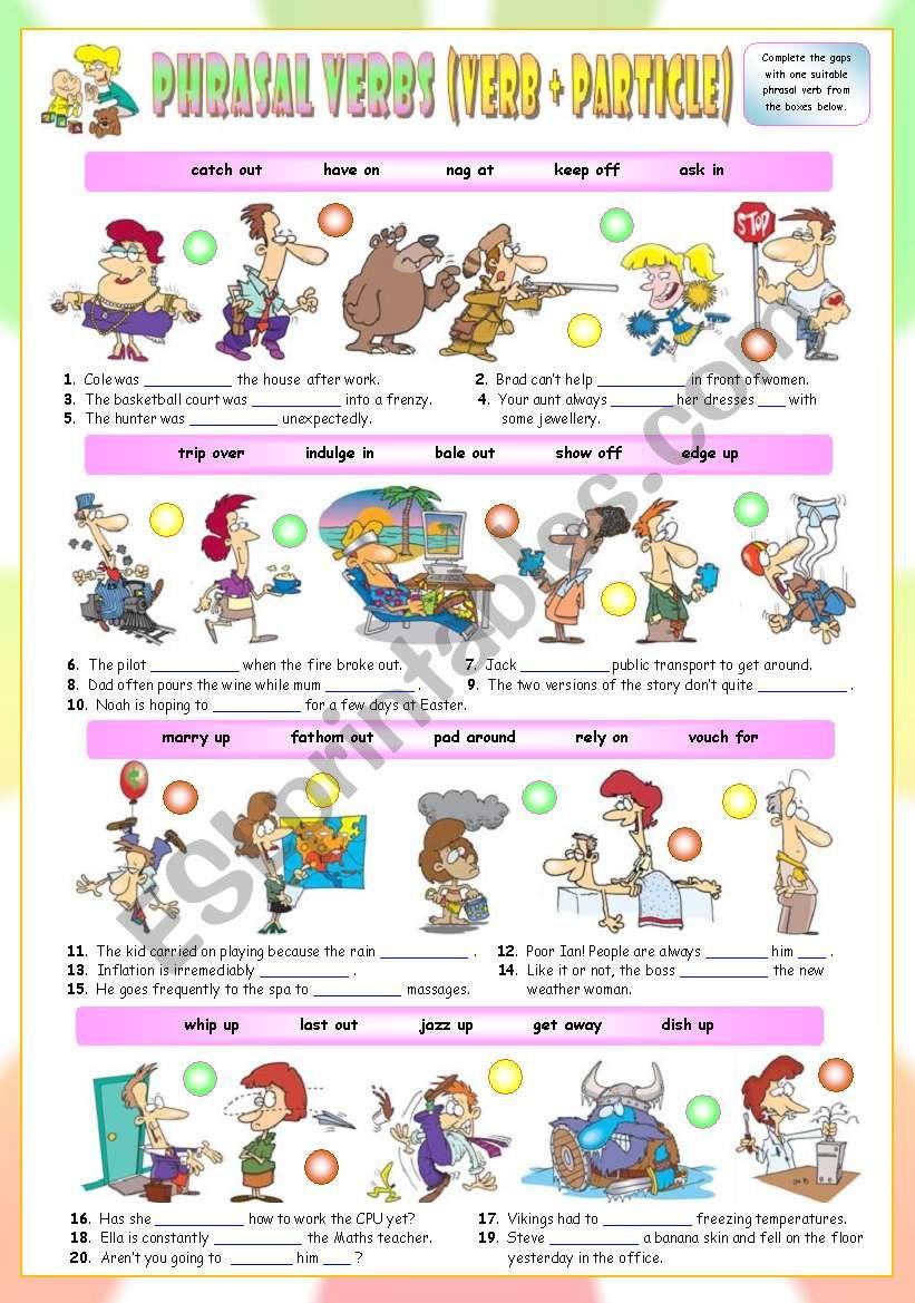 Phrasal Verbs (Thirteenth series). Exercises (Part 2/3). Key included!!!