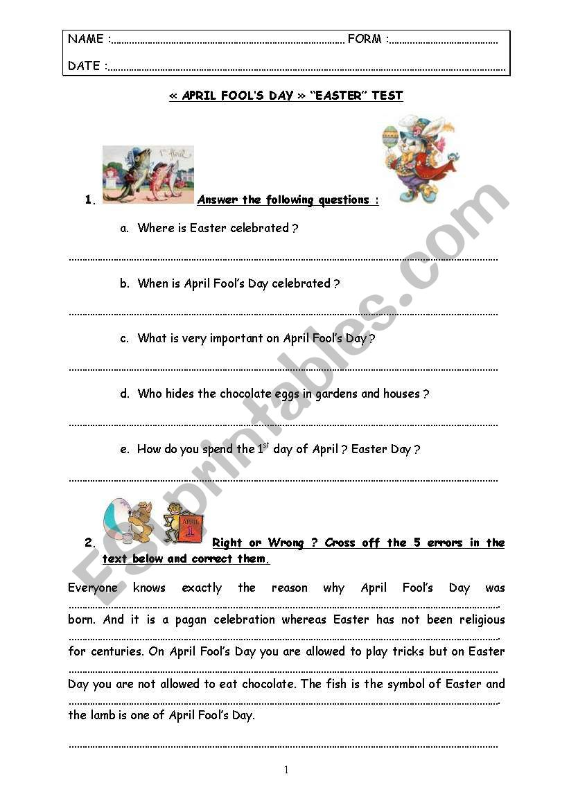 special days : test step 4 - April Fools´ Day & Easter