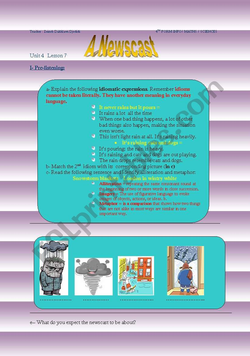 A Newscast - unit 4 lesson 7 - 4th form ( bac)