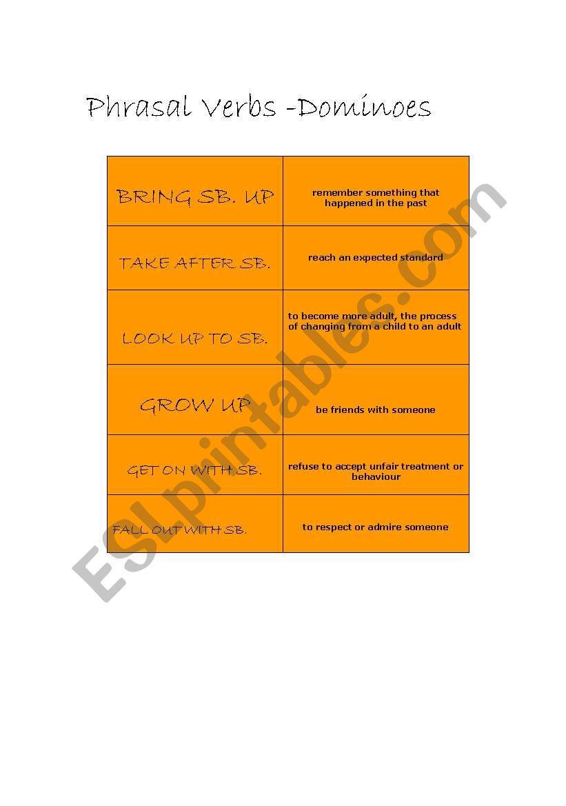 PHRASALS DOMINOES - FAMILY worksheet