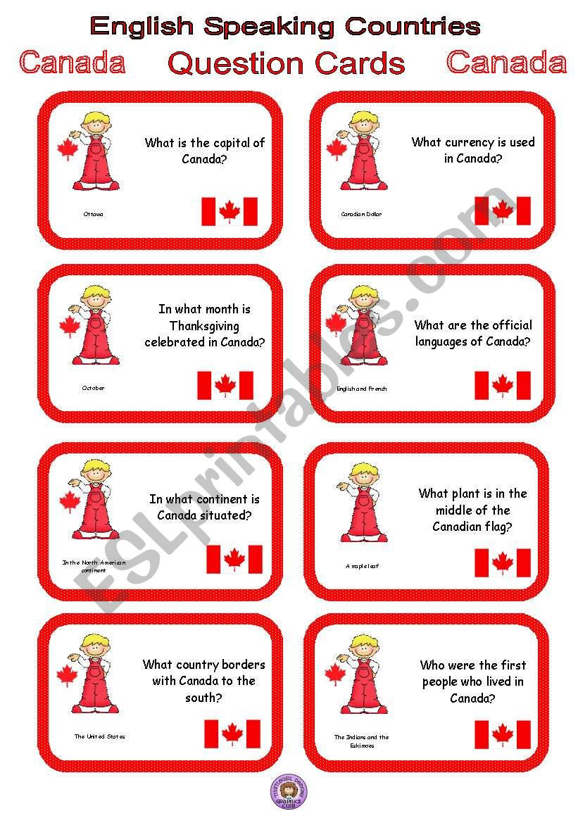 English Speaking Countries - Question cards 4 - Canada