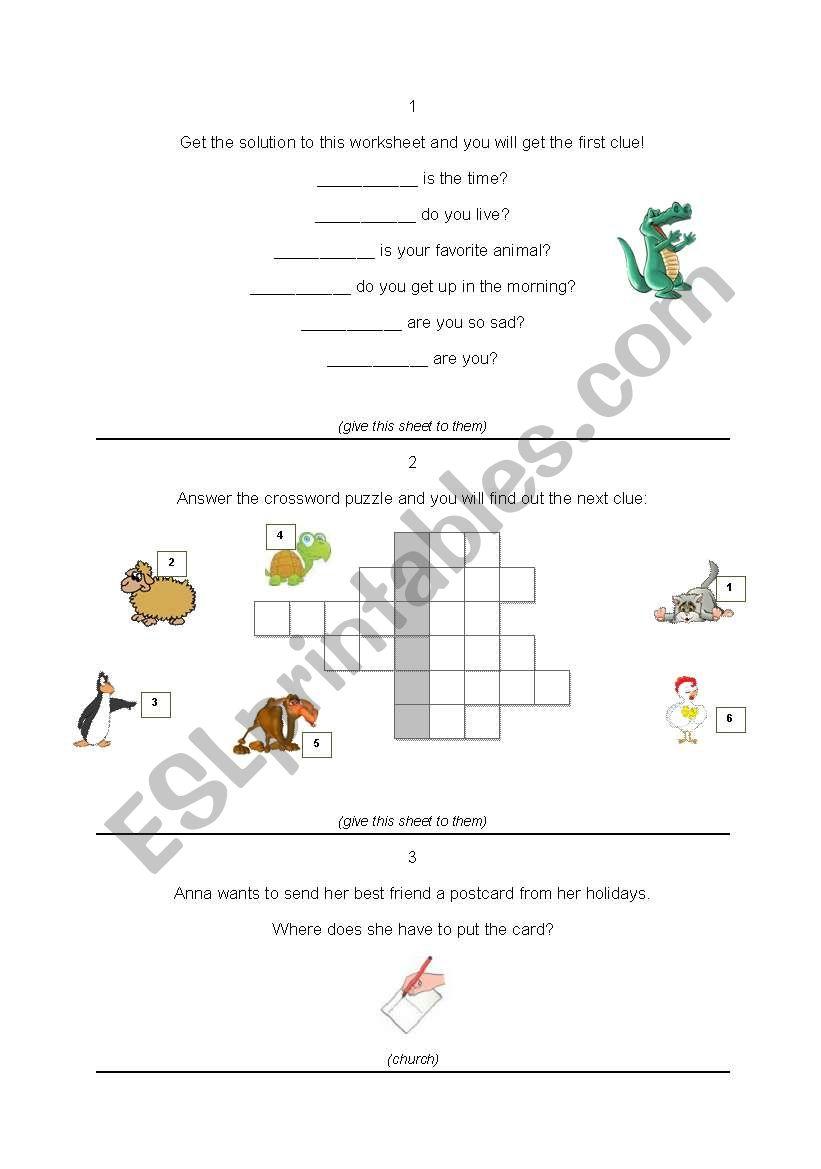 Treasure hunt worksheet