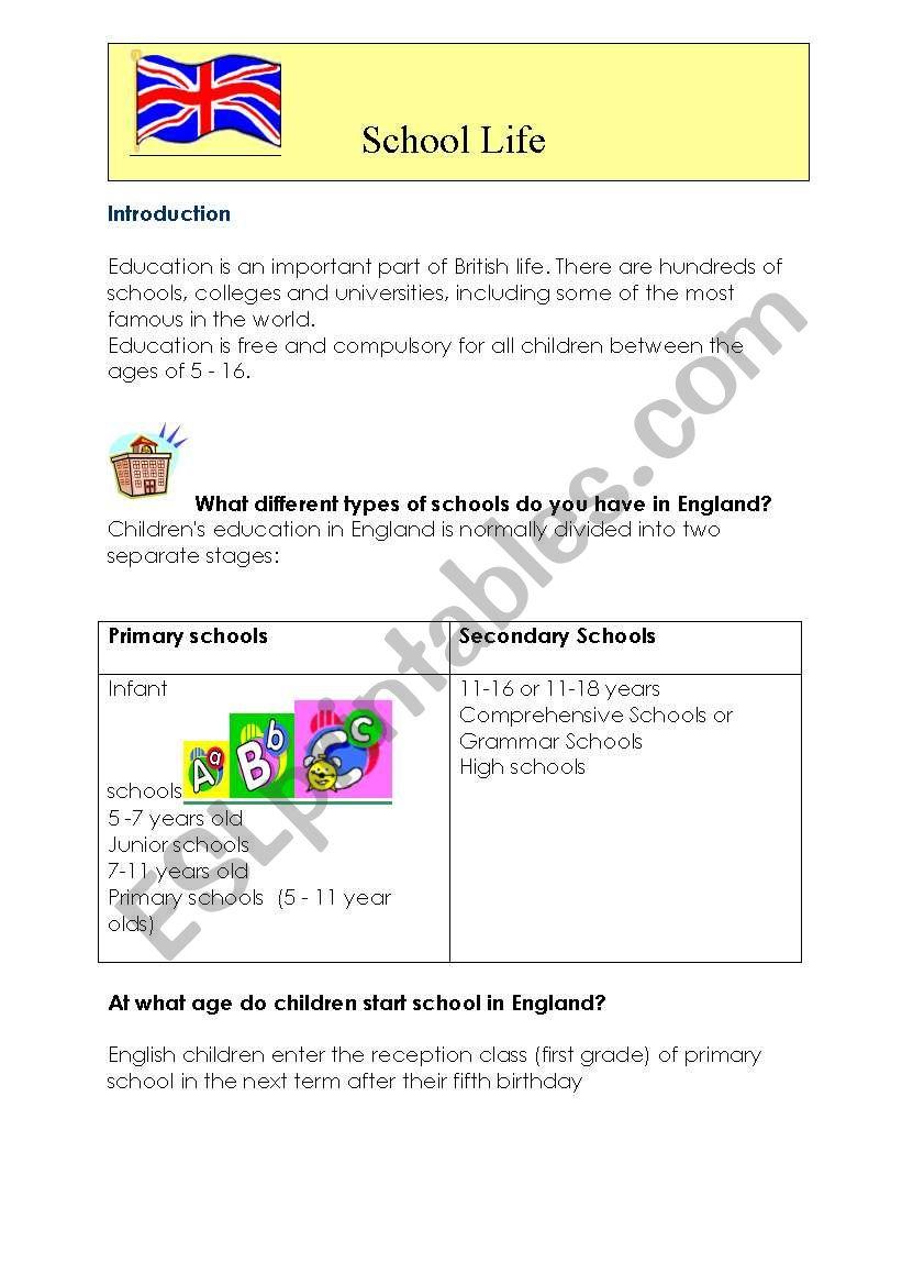school life worksheet