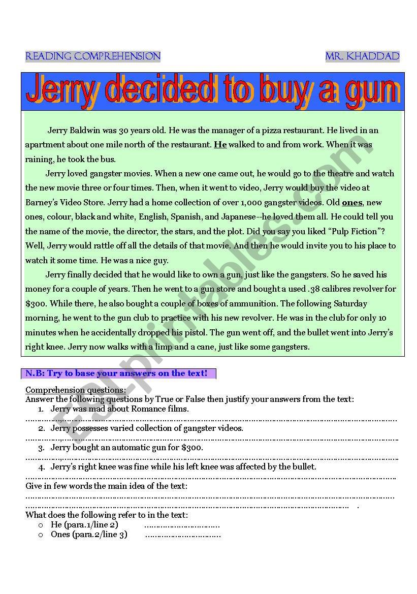 Jerry decided to buy a gun ! worksheet