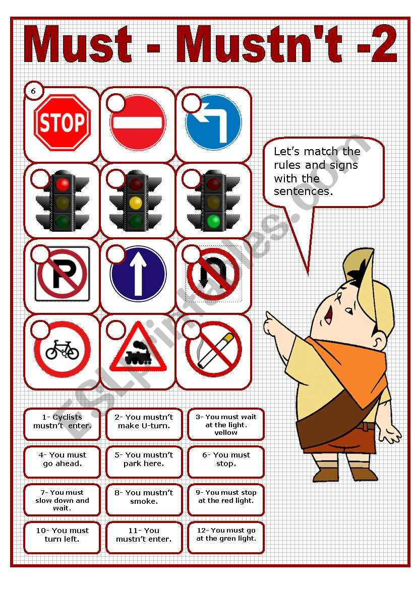 MUST - MUSTN´T 2 - TRAFFIC RULES MATCHING ACTIVITY (editable)