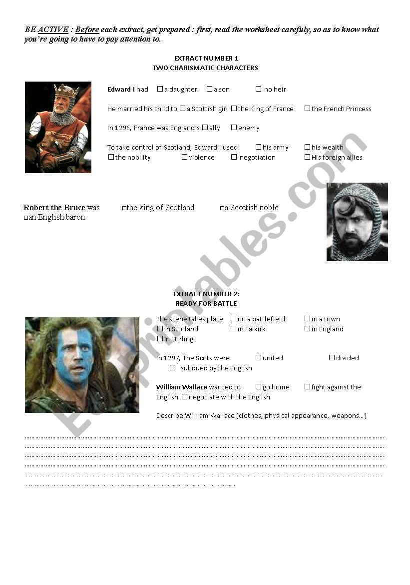 Braveheart worksheet