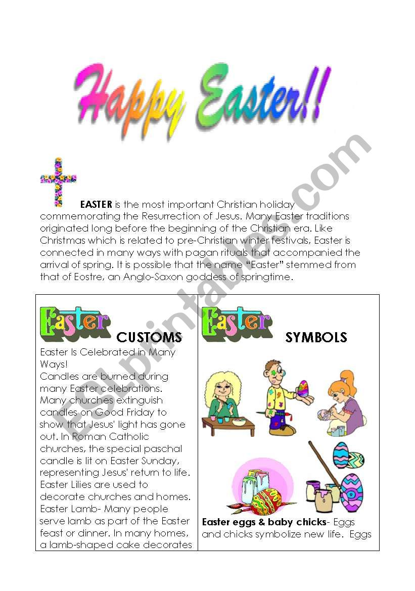 Easter customs and symbols worksheet