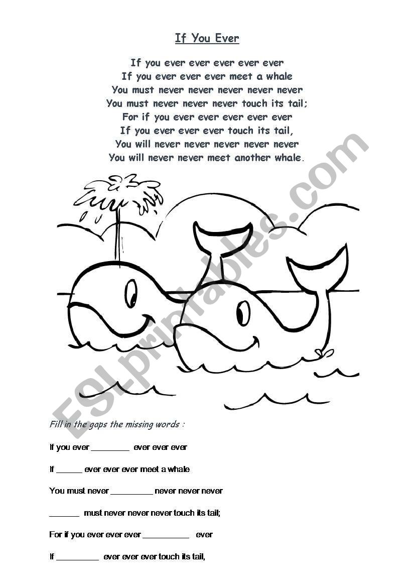 Rhyme about whale worksheet