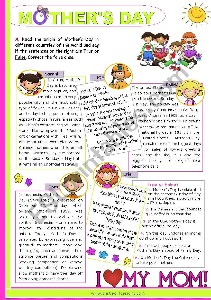 Mother´s Day Around the World  -  Reading Comprehension