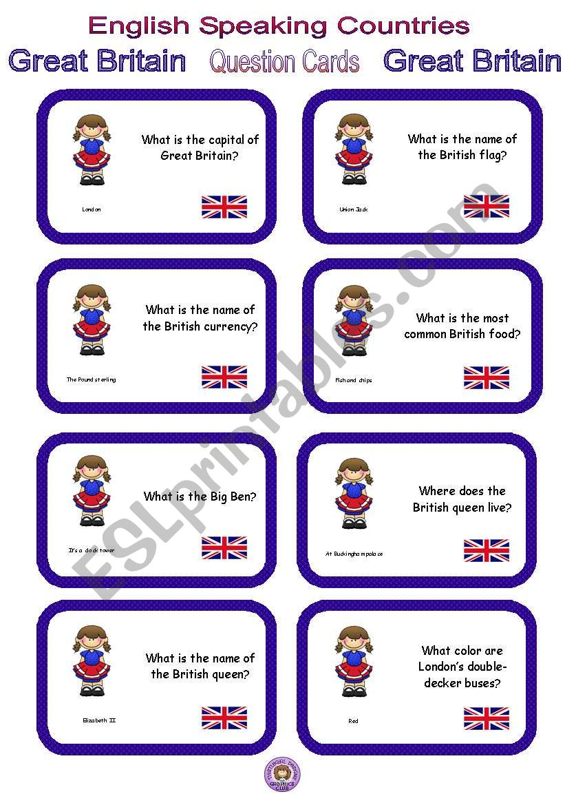 English Speaking Countries - Question cards 5 - Great Britain