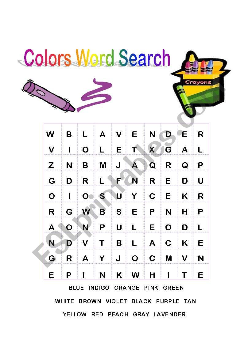 colors word search esl worksheet by mar35. Black Bedroom Furniture Sets. Home Design Ideas