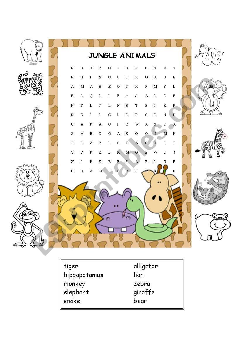 Jungle Animals Worksheet #2 worksheet