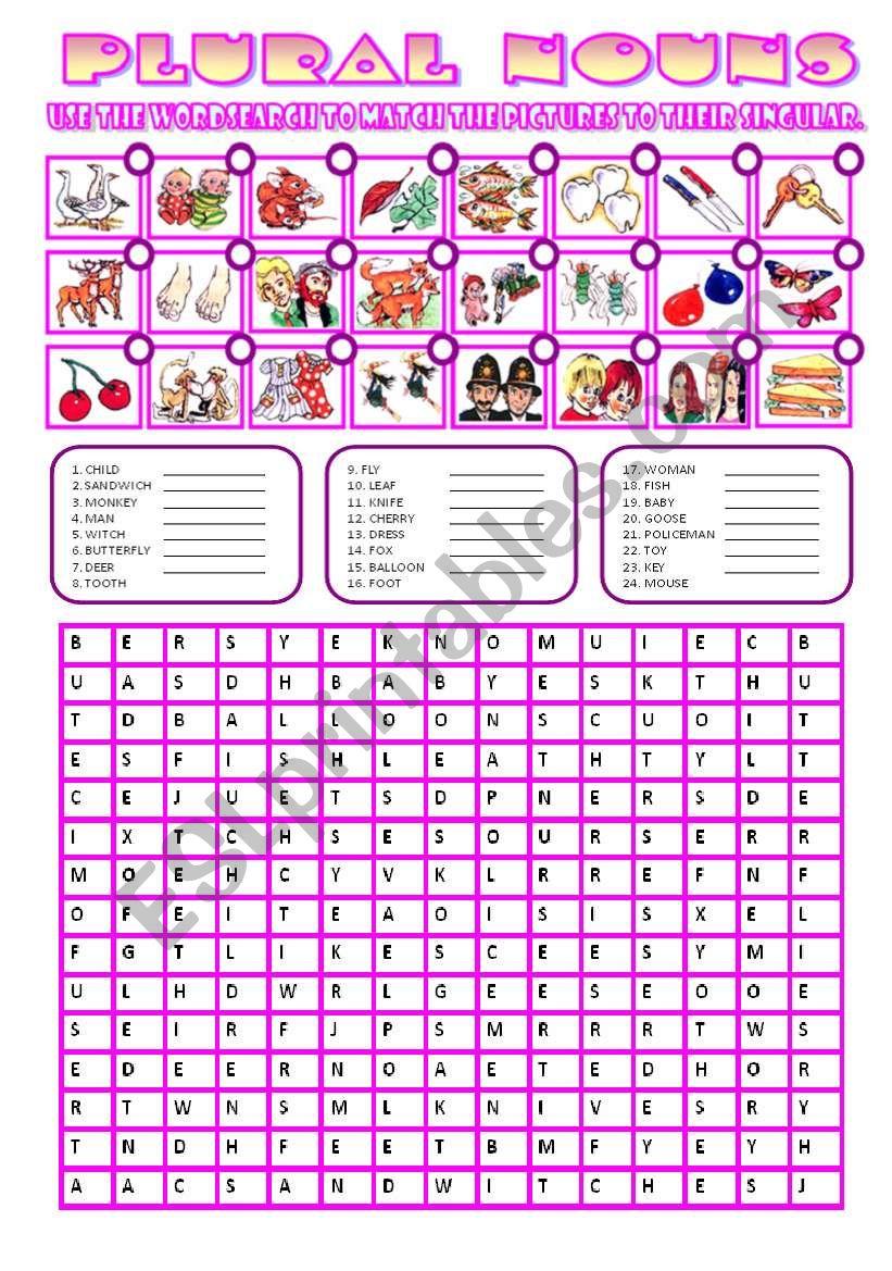 PLURAL NOUNS WORDSEARCH worksheet