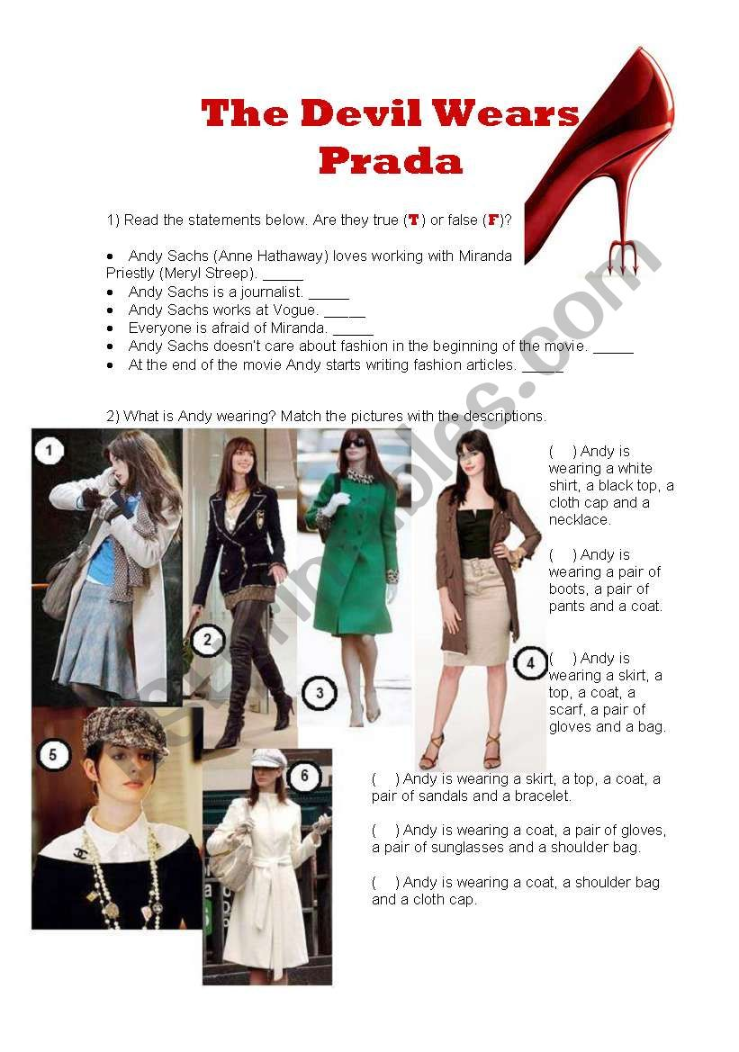 The devil wears Prada worksheet