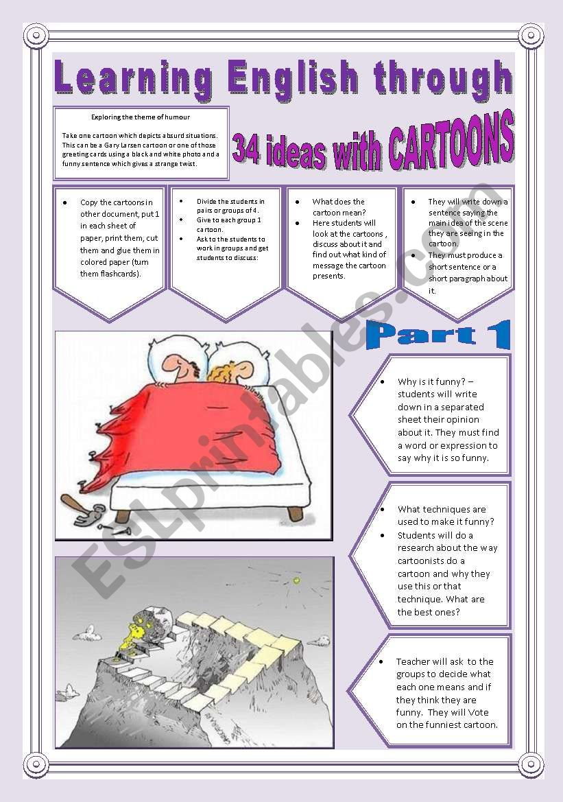 34 NEW IDEAS TO WORK WITH CARTOONS - (5 Pages - Part 1 of 2) -> Learning English Through Cartoons + Exercises + Writing Extra Activities & searched Links are into the file