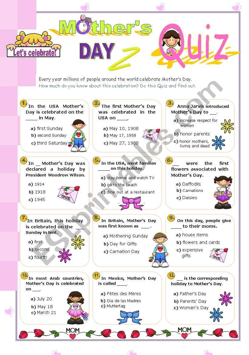 Happy Mother´s Day Quiz (3)   worksheet